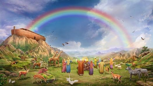 Noah-and-his-family-feel-happy-when-they-see-rainbow