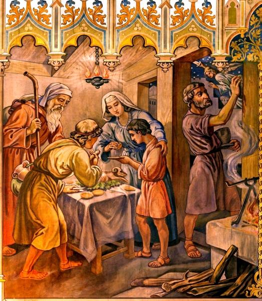 1080-Israelites-at-Passover-Travna-fresco-by-by-Leopold-Bruckner