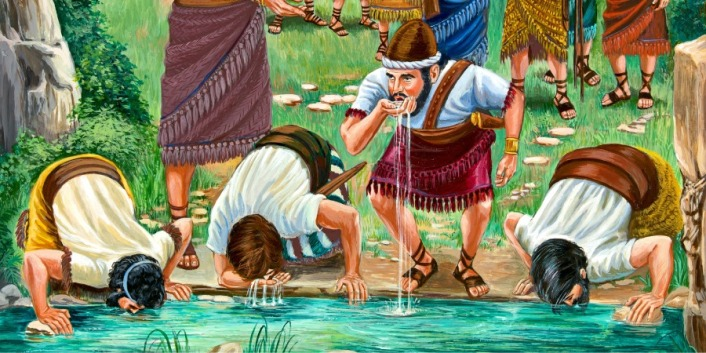 gideon's soldiers drinking at the river