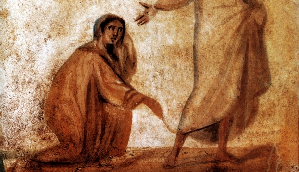 Woman-touching-Jesus-garment-Marcellinus-Peter-Catacomb-610x351