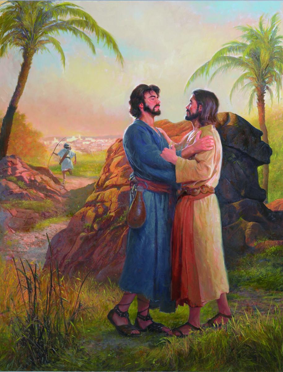 David and Jonathan hug